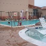 Larger pool right next to the smaller area.  Excellent when you have smaller children as well as