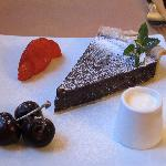 The delicious chocolate tart we ate for dessert - yes, that's cream to pour over it.