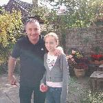 gerard kirwan & my daughter at old nibley farmhouse in the garden.