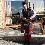 A bagpiper was the official greeter!