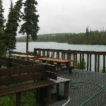 Kenai River from fish cleaning station; line of cabins start on my right going back away