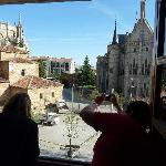 Gaudi's Episcopal Palace and (left) Astorga's cathedral from our 2nd Floor room in the Hotel Gau