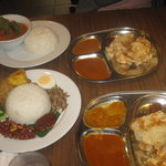 Two roti channai, nasi lemak with chicken and a curry. Lovely!