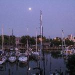 Moonrise over the yacht basin from deck