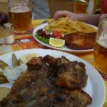  Pork ribs, Chicken schnitzel &amp; chips and beer