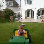 Back garden being enjoyed by our toddler