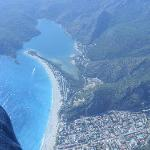 Me Paragliding showing OluDeniz beach and the Blue Lagoon!  Arrgghh!