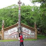 Outside the potlatch house at Totem Bight