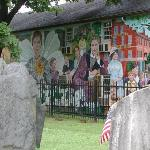 Dickinson and friends in the Amherst History Mural at the cemetery downtown