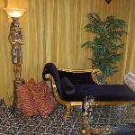 the sofa in the egyptian rooom