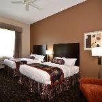 "Our Standard 2 Queen Guestroom - all rooms include microwave, fridge, coffee maker, 37"" flat scr"