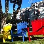 chairs on the front lawn perfect for reading a book while drinking hot tea or coffee