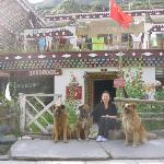 The dogs and me in front of the bar and guest house