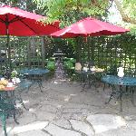 Pretty garden terrace where breakfast is served