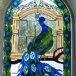 Stained glass in the Peacock room