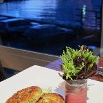 Crab cakes with prosciutto and THAT view!