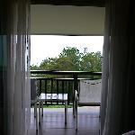  Room 201: The balcony. View of rice paddies and the Straits of Melaka obscured by trees