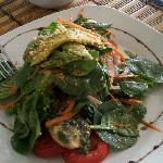 "This is the ""Eat Me Raw"" salad with an amazing lemon basil dressing. It took a lot of will power"