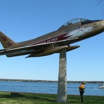 The Golden Hawk is a real jet mounted above the ground on a concrete pedestal located on Brockvi