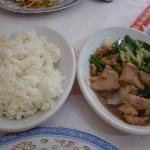 plain rice with beaf in oyster sauce