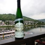 Wine on the balcony overlooking the Mosel!