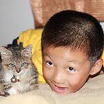 "Little cat ""OneOne"" & my son"