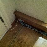 Cables snaking around the front door