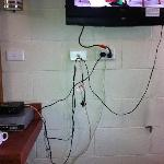 Exposed cords under the telly
