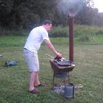 Cooking on the outdoor stove