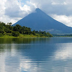 the 33 mile fresh water Lake Arenal, situated in Costa Rica's tropical zone