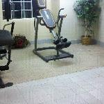 "The ""gym"". Note the stains on the wall and broken bits on the floor."