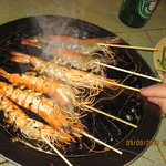 almost cooked prawns