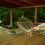 The back deck with hammock and hot tub!