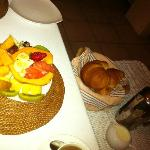 Fruit and pastries for breakfast
