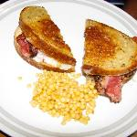 Pastrami Reuben and Israeli couscous
