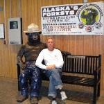 Hubby with Smokey the Bear at the Visitor Center