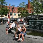 Locals enjoying the summer sun in the square in front of the hotel.