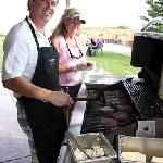  Cooking hamburgers for guests at the Fall, 2011 pickup party.