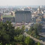 A view of Podil from the Arch of Peace on the free walking tour