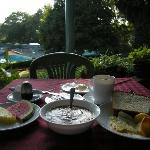 Excellent breakfast in front of the pool