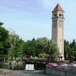 A Burlington Northern clock tower is the focal point of the park.