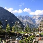 Walser Hotel, Courmayeur, terrace view at MontBlanc-massive