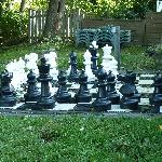 Lawn Chess behind Pool