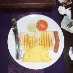 This American breakfast is served at room.