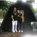 me and my son in our leeds away kit outside the cocoon