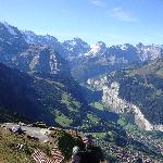 View down to Wengen and Lauterbrunnen