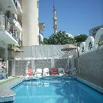 Pool area with the mosque in the background