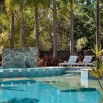 Beautiful heated pool in tropical setting