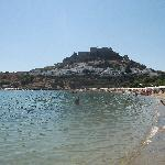 View from the beach to the acropolis