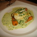  Cod with white wine and parsley sauce on spring onion mash